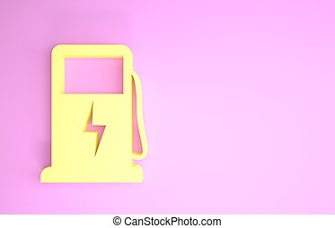 ikon, 3, bil, eco, station, render, minimalism, isolerat, skylt., elektrisk, laddning, gul, drivmedel, illustration, concept., bakgrund., pump, rosa