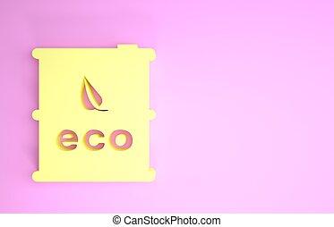 ikon, 3, miljö, eco, render, minimalism, isolerat, bio, gul, drivmedel, illustration, concept., grön, bakgrund., canister., trumma, recycle., rosa