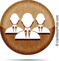 ikon, af træ, forretningsmand, gruppe