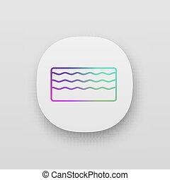 ikon, app, skum, minne, madrass