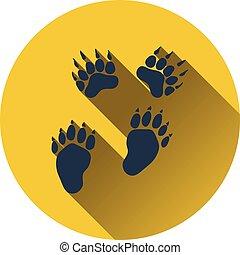 ikon, av, björn, spår