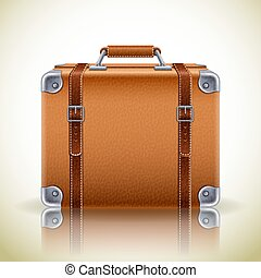 ikon, bőrönd, retro