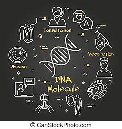 ikon, -, bakterie, dna, virus, svart, vektor, molekyl, ...
