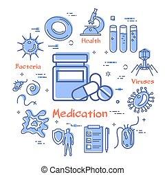ikon, -, bakterie, medicinsk behandling, virus, vektor, ...