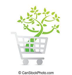 ikon, bevásárlás, fogalom, szerves, kordé
