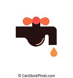 ikon, bevattna klapp, droppe