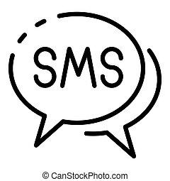 ikon, bubblar, sms, stil, skissera