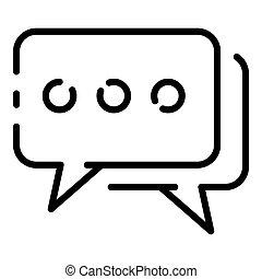 ikon, bubblar, stil, pratstund, skissera