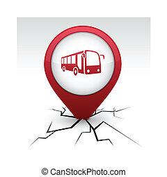 ikon, buss, röd, crack.