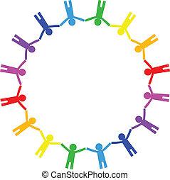 ikon, c-hang, vektor, színes, emberek