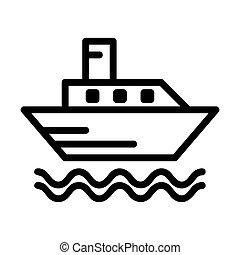 ikon, csónakázik, jel, komp, áttekintés, vagy
