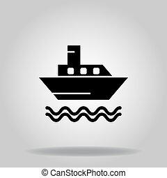 ikon, csónakázik, jel, komp, glyph, vagy