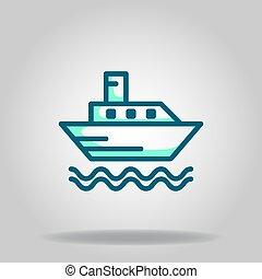 ikon, csónakázik, jel, twotone, komp, vagy