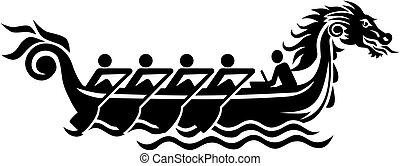 ikon, csónakázik, sárkány, versenyzés