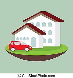 ikon, drøm, luksus, hus, og, automobilen, begreb branche