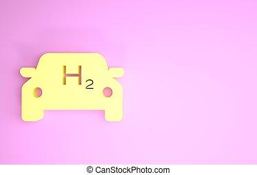 ikon, eco, minimalism, emission., väte, 3, rosa, noll, cell, station, render, concept., h2, bil, miljö, isolerat, skylt., illustration, bakgrund., gul, drivmedel, vänskapsmatch