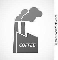 ikon, elszigetelt, gyár, kávécserje, szöveg, ipari