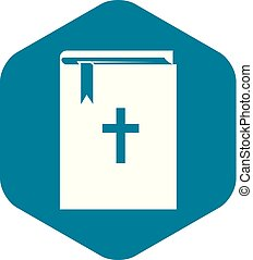 ikon, enkel, bibel, stil