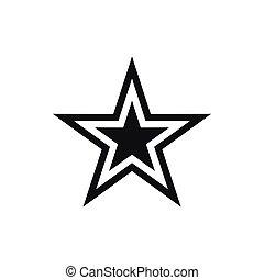 ikon, enkel, stjärna, stil