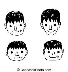 ikon, folk, tecknad film, ansikte