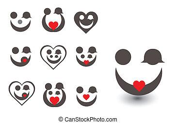 ikon, foto, block, kärlek, familj