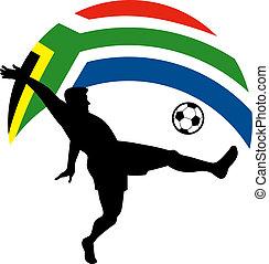 ikon, futball foci, játékos, rúgás, labda, noha, lobogó, közül, republic of south africa