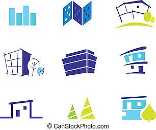 ikon, gyűjtés, helyett, modern, épület, beszívott, által, természet, és, simplicity., vektor, illustration.