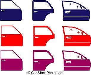 ikon, háttér, ajtó, autó, elszigetelt, fehér