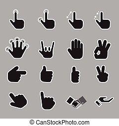 ikon, hånd, vektor, set.