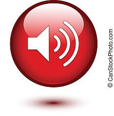 ikon, högtalare, röd
