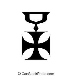 ikon, hadi, mód, kereszt, egyszerű