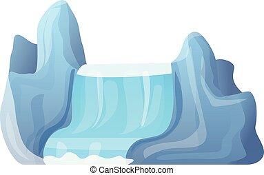 ikon, hegy, mód, vízesés, karikatúra