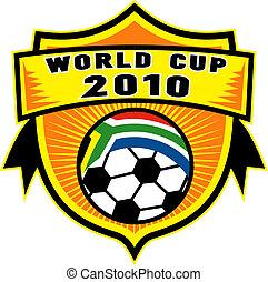 ikon, helyett, 2010, futball, világbajnokság, noha, focilabda, noha, lobogó, közül, republic of south africa, belső, egy, pajzs
