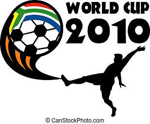 ikon, helyett, 2010, futball, világbajnokság, noha, játékos, rúgás, labda, noha, lobogó, közül, republic of south africa