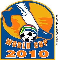 ikon, helyett, 2010, futball, világbajnokság, noha, lábak, közül, játékos, futás, labda, noha, lobogó, közül, republic of south africa