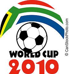 ikon, helyett, futball foci, világbajnokság, 2010, noha, labda, és, lobogó, közül, republic of south africa