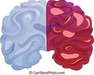 ikon, hjärna, stil, sjukdom, tecknad film