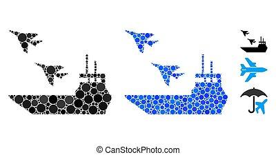 ikon, hordozó, repülőgép, zenemű, karikák