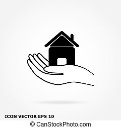 ikon hus, hånd