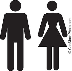 ikon, hvid, kvinde, baggrund, mand
