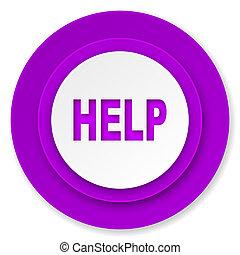 ikon, ibolya, gombol, segítség