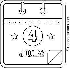 ikon, juli, style., kalender, skissera