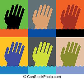 ikon, közül, fulladás, bábu kezezés