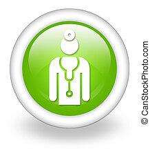 ikon, knapp, pictogram, läkare