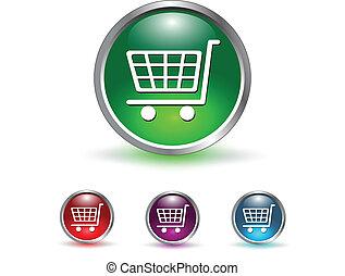 ikon, knapp, shoppa vagnen