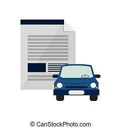 ikon, kontrakt, automobilen