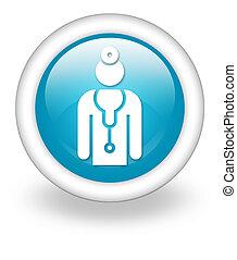 ikon, läkare, knapp, pictogram