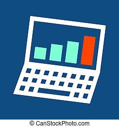 ikon, laptop, tilvækst, graph.