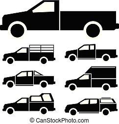 ikon, lastbil, sätta, pickupen