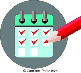 ikon, lista, kontroll, dagordning, märke